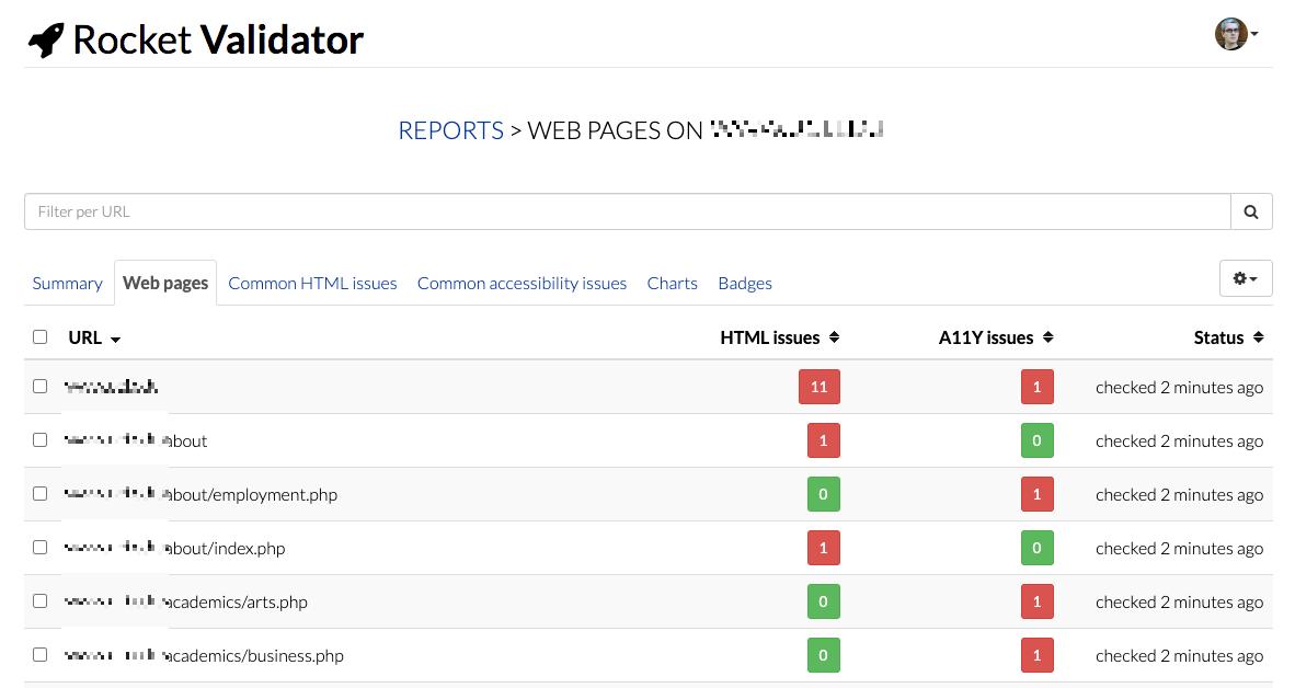 Web Pages list screenshot